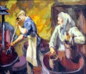 Mende Gusztáv: Préselési munka (vázlat)