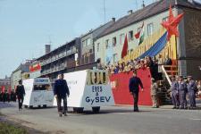A 100 éves GySEV dolgozóinak felvonulása