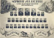A Soproni Állami Líceum 1948-49 végzett növendékeinek tablója
