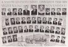 A soproni Berzsenyi Dániel Gimnázium 1959-ben végzett IV.A. osztály tablója