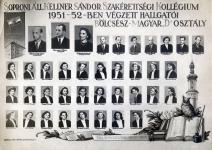 """A soproni Kellner Sándor Szakérettségi Kollégium 1951-52-ben végzett hallgatói - Bölcsész-Magyar """"D"""" osztályának tablója"""