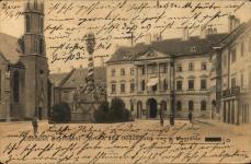 Korabeli képeslap a Megyeházával
