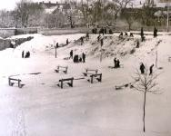 Tél a Gödör játszótéren az 1950-es évek végén