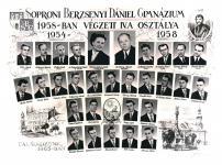 A Berzsenyi Dániel Gimnázium 1958-ban végzett 4.a osztályának tablója