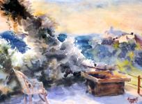 Mende Gusztáv: Terasz a Kuruc-dombbal