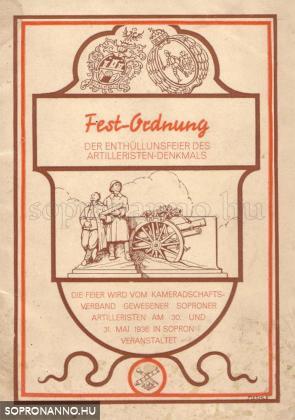 A Deák téri tüzér emlékmű avatásának programfüzete