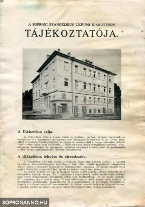 A Soproni Evangélikus Líceumi Diákotthon Tájékoztatója