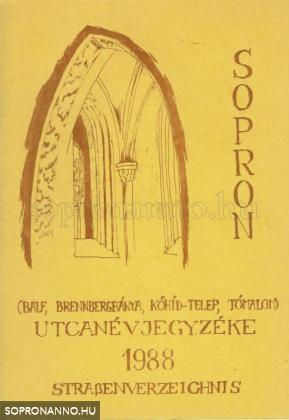 Sopron utcanévjegyzéke 1988