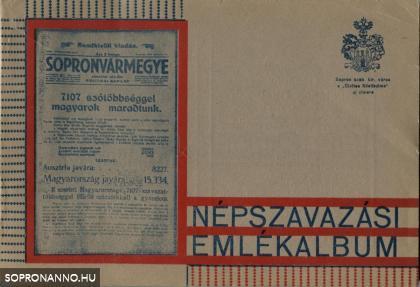 """A """"Sopronvármegye"""" Népszavazási Emlékalbuma"""