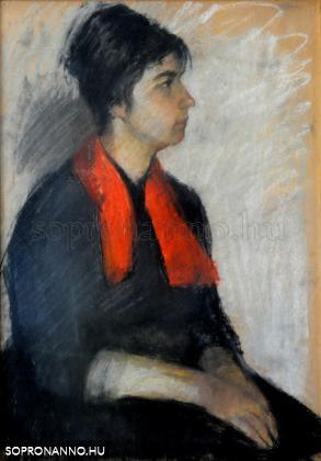 Mende Gusztáv: Nő piros sállal