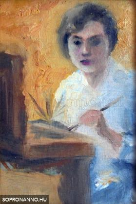 Önarckép festődobozzal és ecsettel
