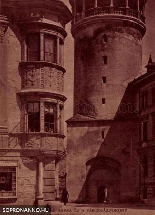 A Tűztorony - még a Hűségkapu nélkül - és a Storno - ház egy részlete