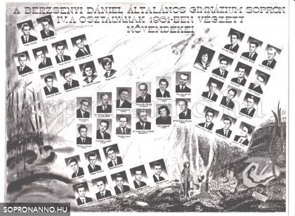 A Berzsenyi Dániel Gimnázium 1961-ban végzett IV.A. osztályának tablója