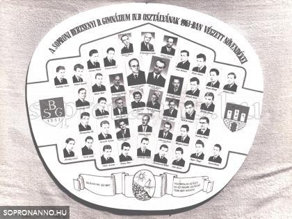 A Berzsenyi Dániel Gimnázium 1963-ban végzett IV.B. osztályának tablója.