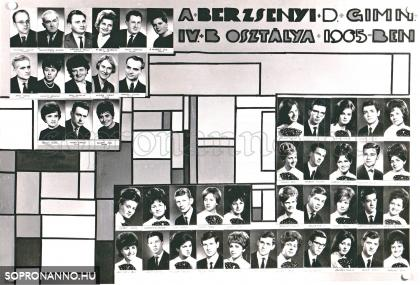 A Berzsenyi Dániel Gimnázium 1965-ben végzett IV.B. osztályának tablója
