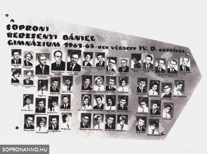 A Berzsenyi Dániel Gimnázium 1965-ben végzett IV.D. osztályának tablója