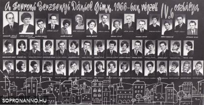 A Berzsenyi Dániel Gimnázium 1966-ban végzett IV.B. osztályának tablója
