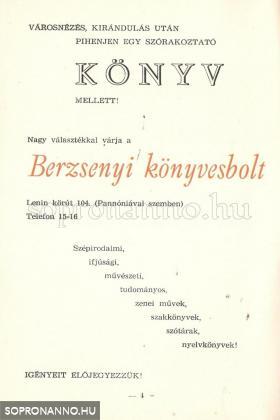 A Berzsenyi könyvesbolt reklámja 1976-ból