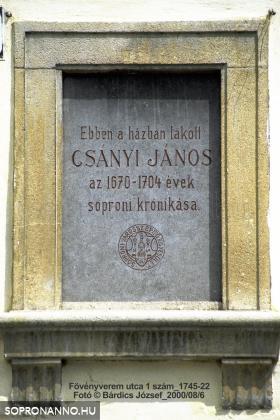 Csányi János emléktáblája