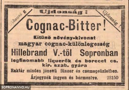 A Hillebrand cég reklámja 1892-ből