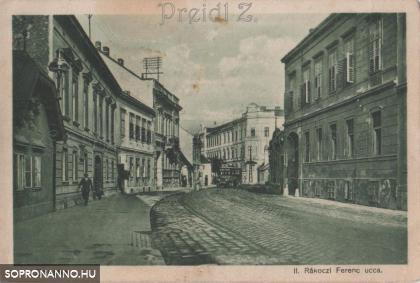 A II. Rákóczi Ferenc utca korabeli képeslapon