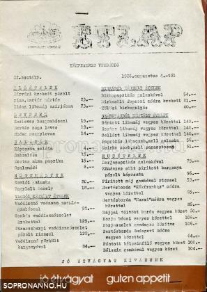 A Kékfrankos étlapja 1986-ból