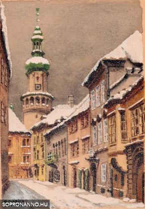 A Kolostor utca hóesésben