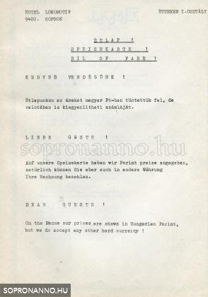 A Lokomotív Étterem étlapja 1986-ból