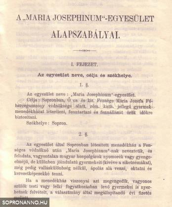 """A """"Maria Josephinum""""-Egyesület Alapszabályainak első oldala"""