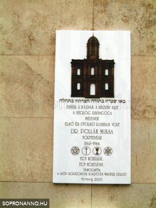 Emléktábla a Templom u. 23. sz ház falán