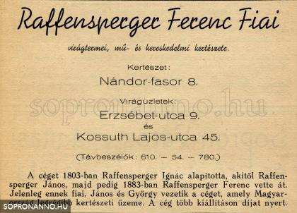 A Raffensperger  cég korabeli reklámja