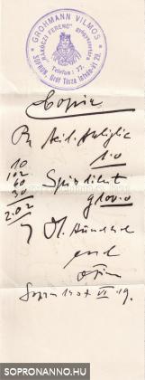 Gyógyszertári számla 1937-ből