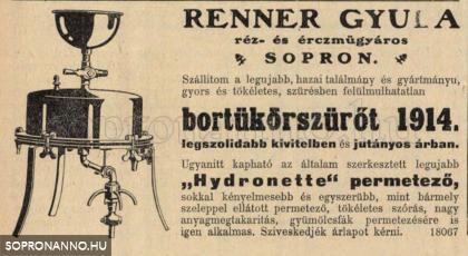A Renner-cég reklámja 1914-ből