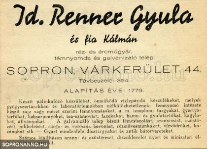 A Renner-cég reklámja 1944-ből