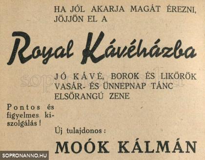 A Royal kávéház reklámja 1943-ból