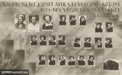 A soproni Állami József Attila Leánygimnázium 1954-ben végzett növendékei