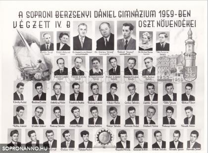 A soproni Berzsenyi Dániel Gimnázium 1959-ben végzett IV.B. osztályának tablója