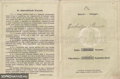 A Soproni Takarékpénztár betétkönyve 1921-ből