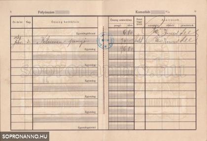 A Soproni Takarékpénztár betétkönyve 1929-ből