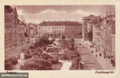 A Széchenyi tér korabeli képeslapon