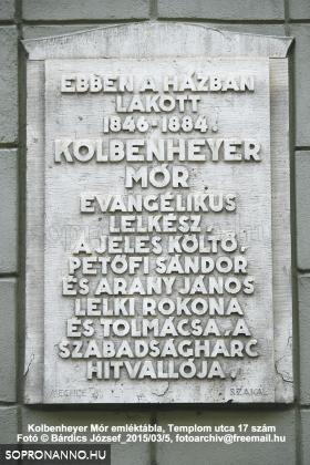 Kolbenheyer Mór emléktáblája