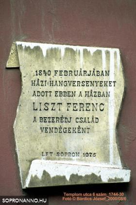 Liszt Ferenc emléktábla