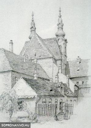 A Tschurl-ház udvara Storno Pál rajzán