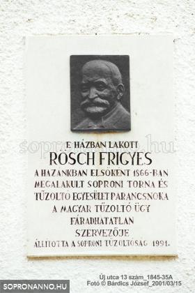 Rösch Frigyes emléktáblája