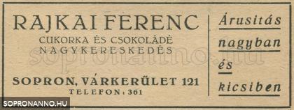 Rajkai Ferenc kereskedésének reklámja