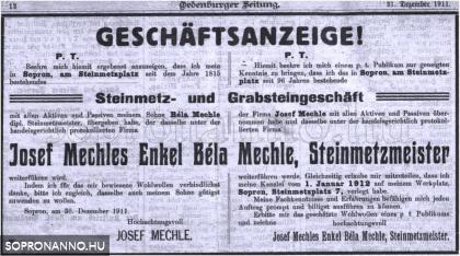 Korabeli újságcikk 1911-ből