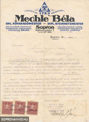 Mechle Béla által szignózott számla