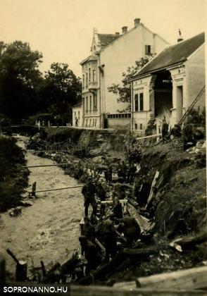 Árvíz 1940-ben a Frankenburg úton