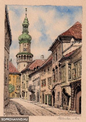 Autheried Hannibál Gizella képei Sopronról - A Kolostor utca színesben