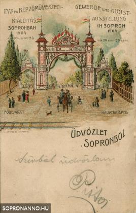 Az 1904-es Iparkiállítás bejárata színes grafikán